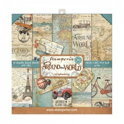 Pochette de 10 feuilles recto verso Arround the world Stamperia