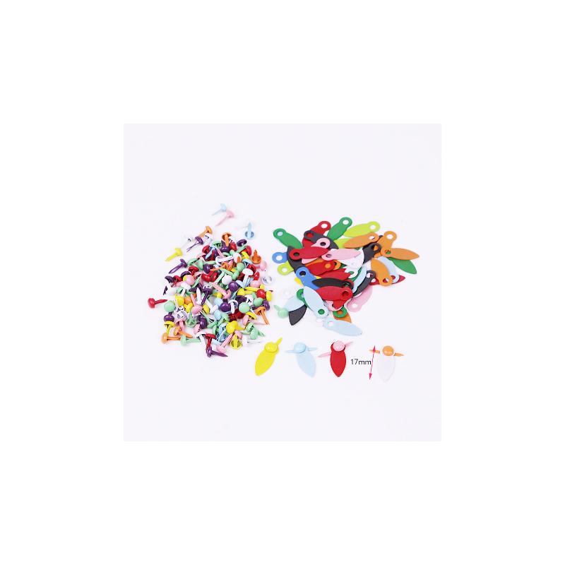 50 flipettes et attaches parisiennes couleurs assorties 17mm