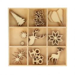 27 mini silhouettes en bois - Noël ecossais - ARTEMIO
