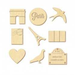 27 mini silhouettes en bois - PARIS - ARTEMIO