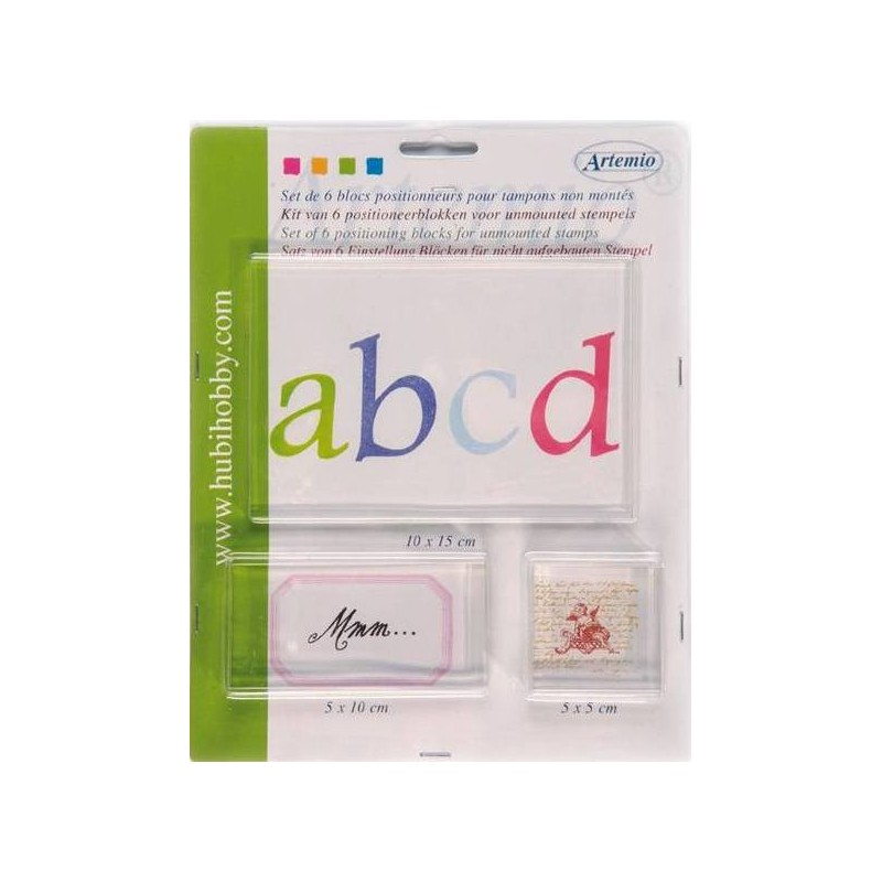Kit de 6 blocs acrylique pour tampons transparent