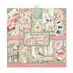 Pochette de 10 feuilles recto verso House of roses Stamperia