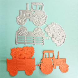Dies tracteur avec sa remorque et la botte de paille