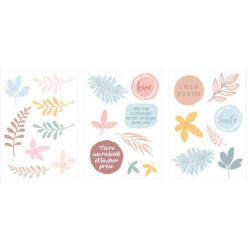 3 feuilles de stickers cartonnés Slow Life
