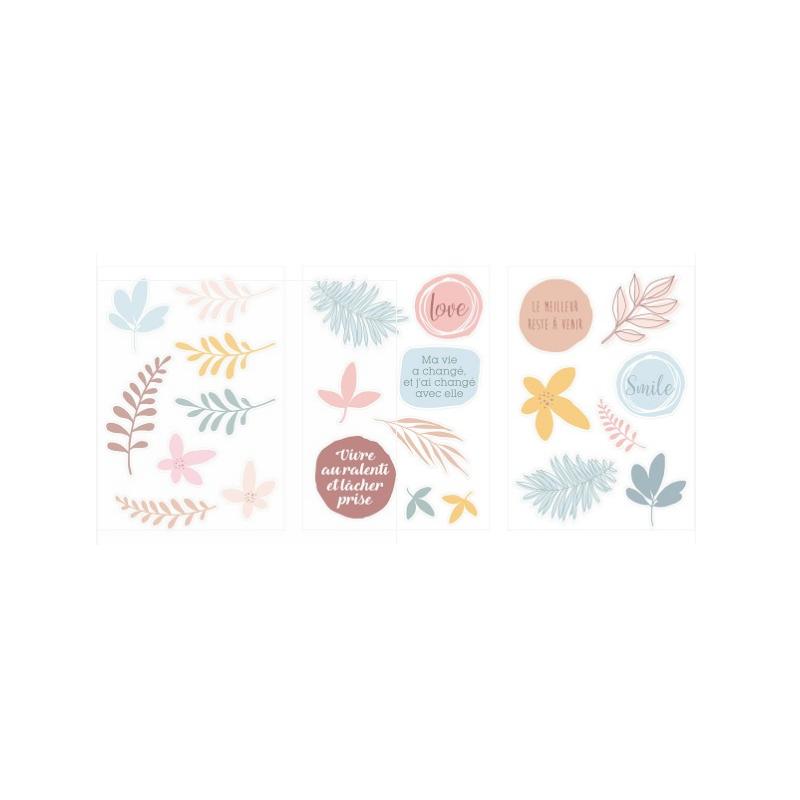 3 feuilles de stickers cartonnés Slow Life