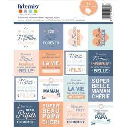 3 Planches de stickers étiquettes beau-père/belle-mère - ARTEMIO