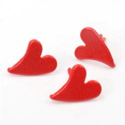 10 Attaches parisiennes coeurs rouge