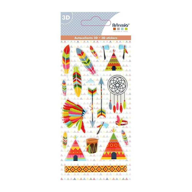 Stickers à relief puffies totem indien ARTEMIO