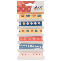 "6 rubans imprimés motifss ""Bonheur"" ARTEMIO 6x1M"