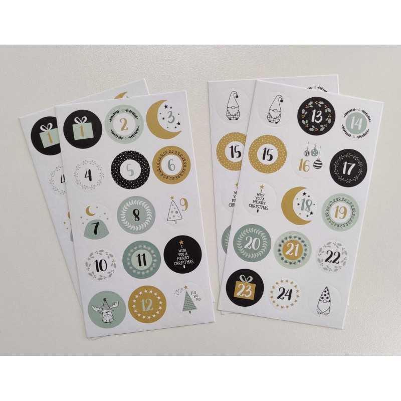 4 Planches stickers ronds imagine Noël - ARTEMIO