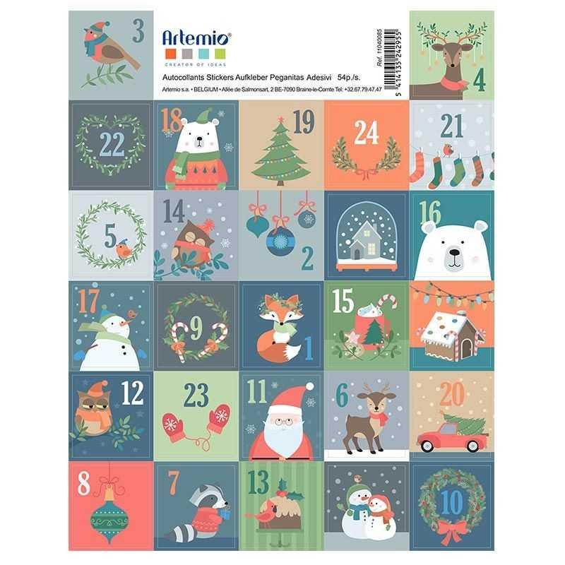 Planche de 27 stickers ronds ours de Noël - ARTEMIO