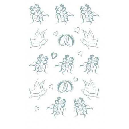 Transfert rub-on symboles mariage argent