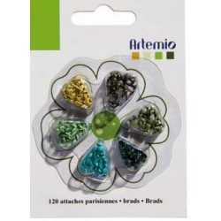 120 attaches parisiennes rondes tons vert ARTEMIO