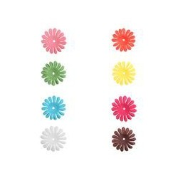 10 fleurs en tissu couleurs assorties