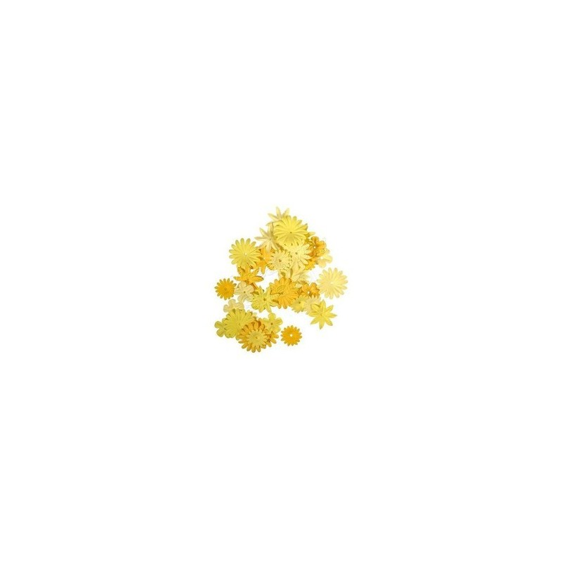 36 fleurs en papier tons jaunes RAYHER