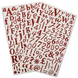 2 planches de stickers glitter lettres, chiffres et ponctuations rouge