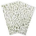 2 planches de stickers glitter lettres, chiffres et ponctuations vert clair